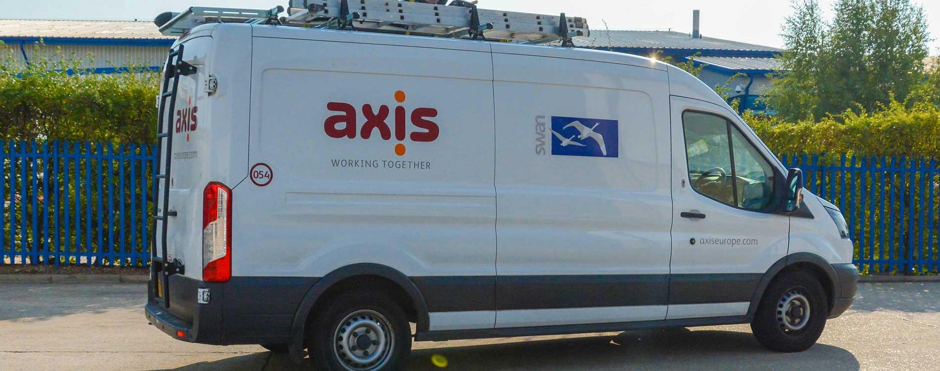 Axis and Swan dual branded van