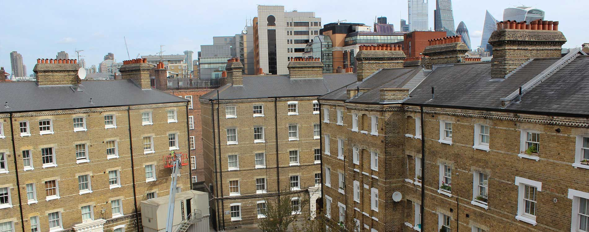 Grade 2 listed period properties with a backdrop of London's city skyline. the properties are recently renovated to a high finish by axis europe.