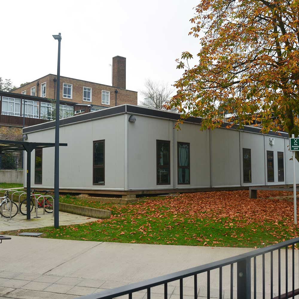 Modular build pop up class room inside university grounds part of axis works on the areas refurbishment