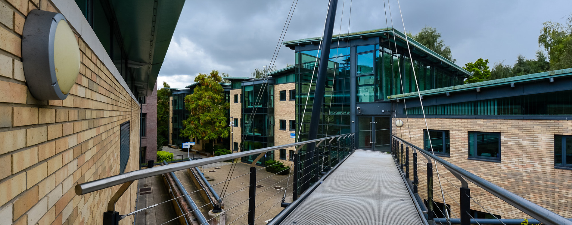 Bridge leading across between two university buildings inside Kingston university
