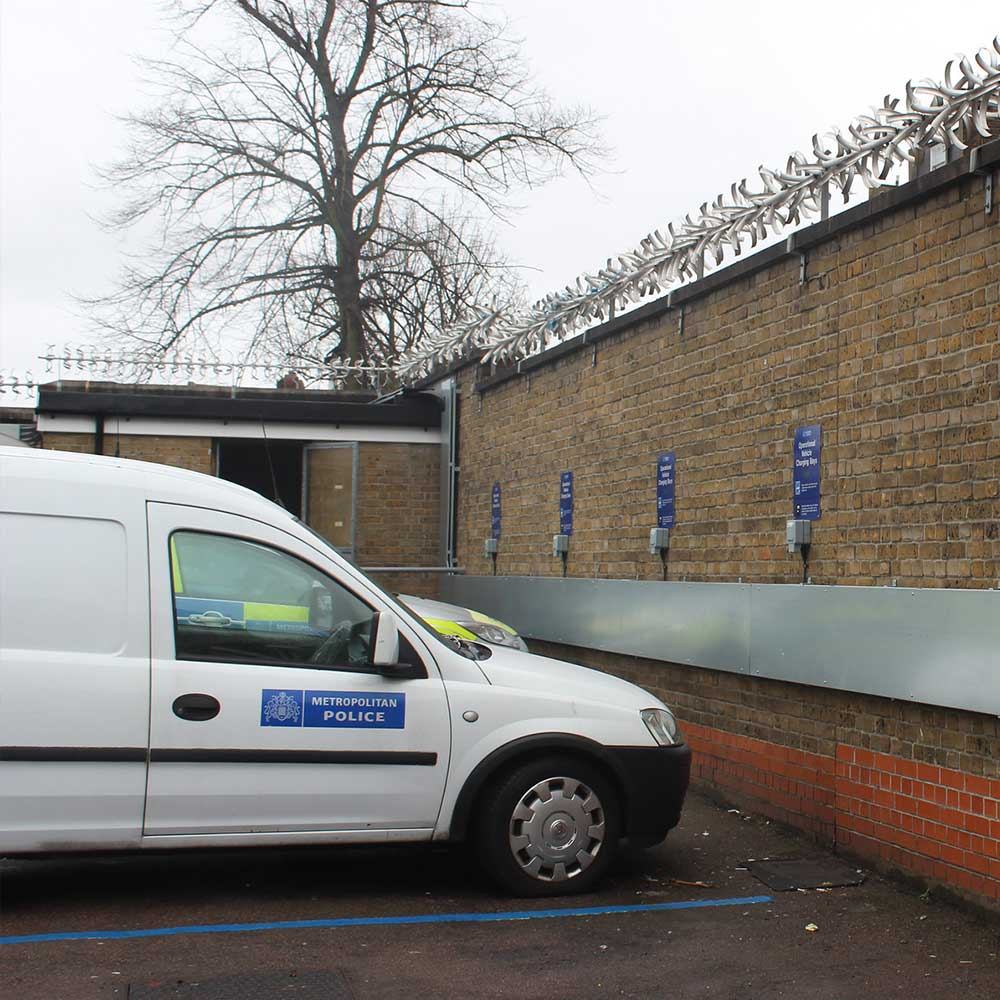 MET-Police-van-charing-in-the police station that axis Europe installed charging points in