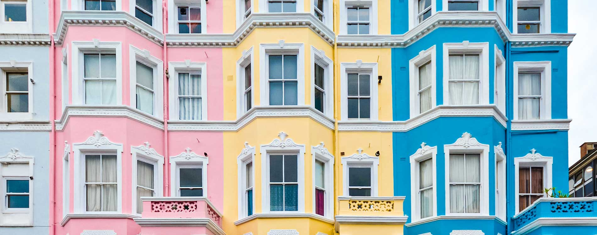 3 painted properties in notting hill side by side