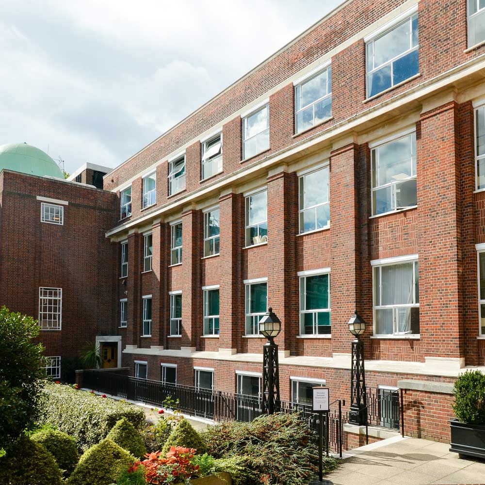 renovated façade at regents university after project completion