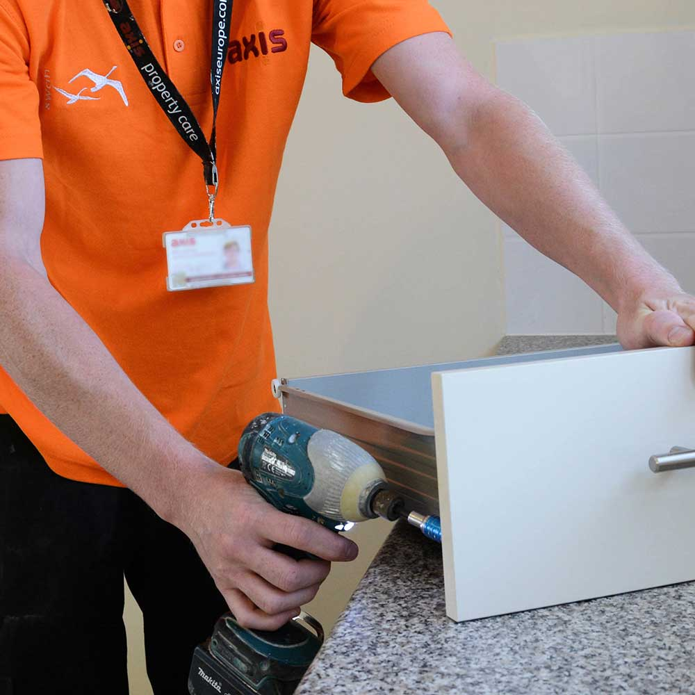 Axis operative fixing a drawer