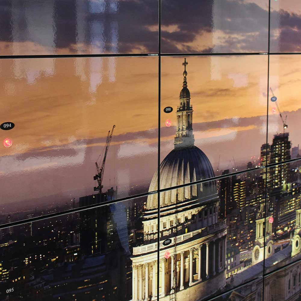 New lockers depicting st Paul cathedral London inside an office renovation