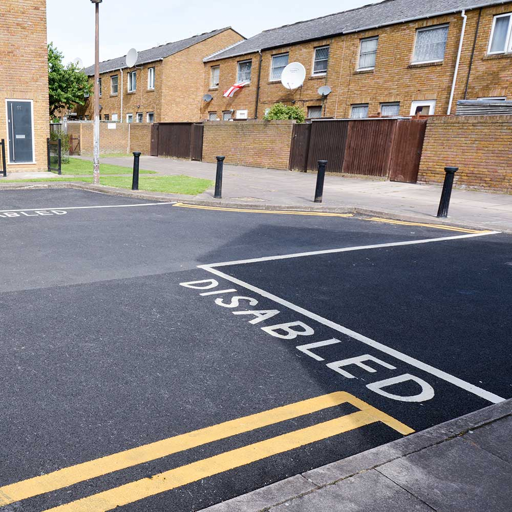Disabled space created by axis working on a civil works contract