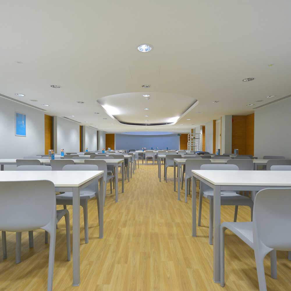 cafeteria dining area inside a large open plan met police building that has been work on as a project by axis