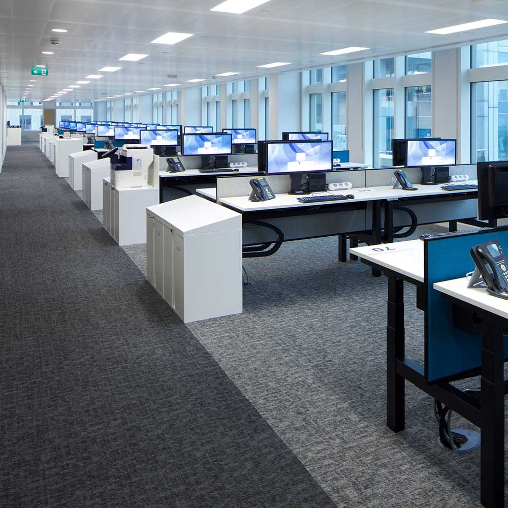 Office suite with computers and clear open walkways