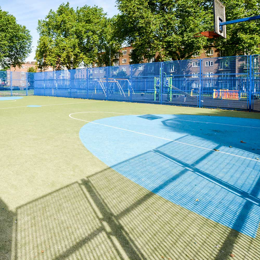 freshly painted 5 a side football pitch that Axis were contracted to work on
