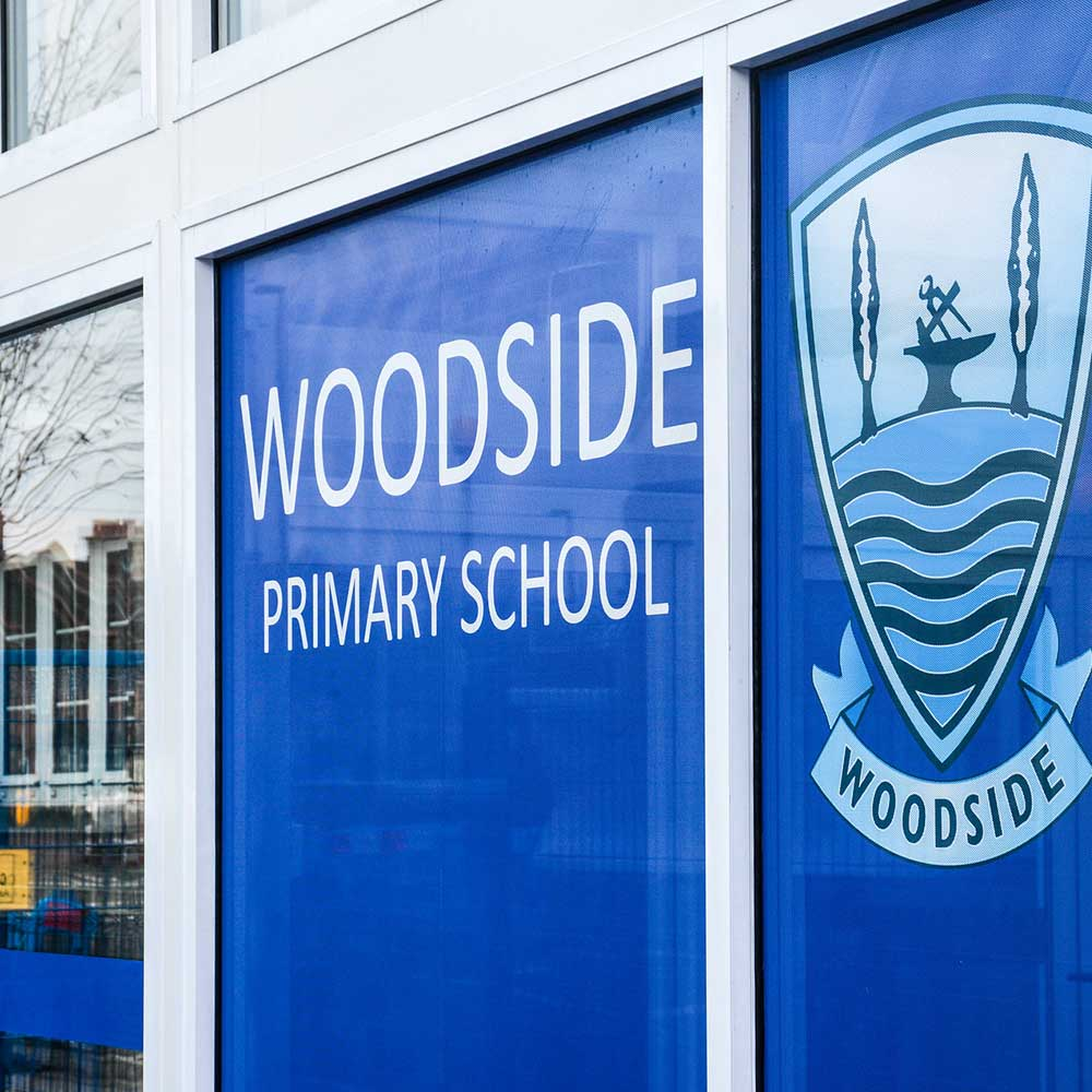 Woodside primary school entrance in new construction space