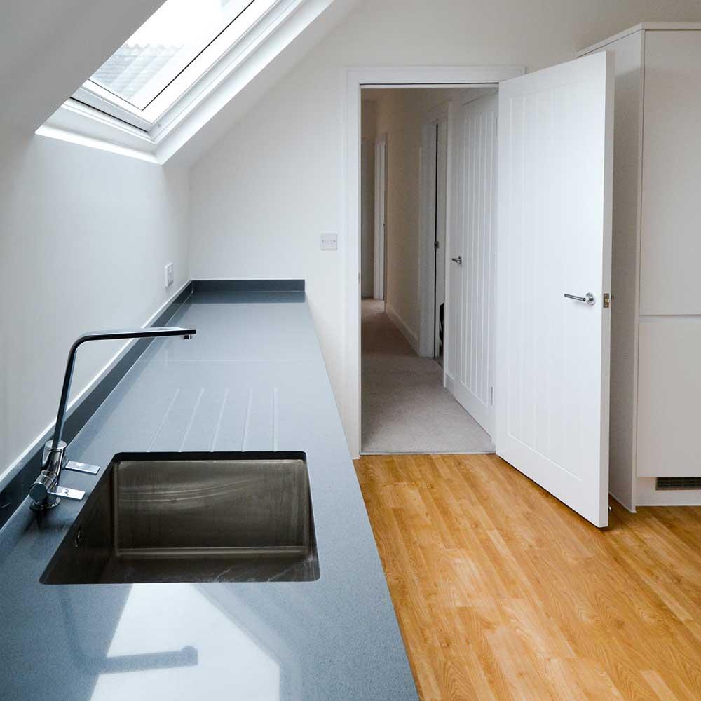Kitchen space in a modern flat refurbishment