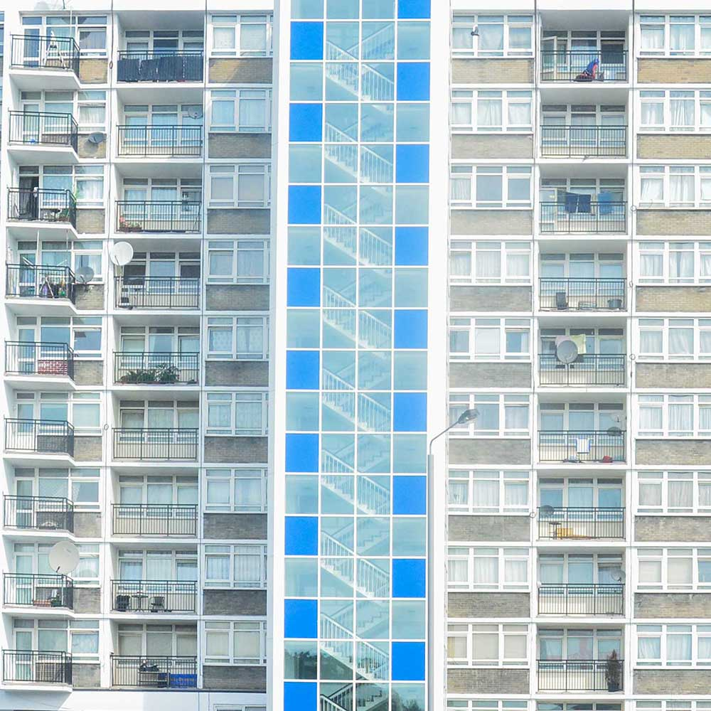 a straight on view of a block of flats in leyton