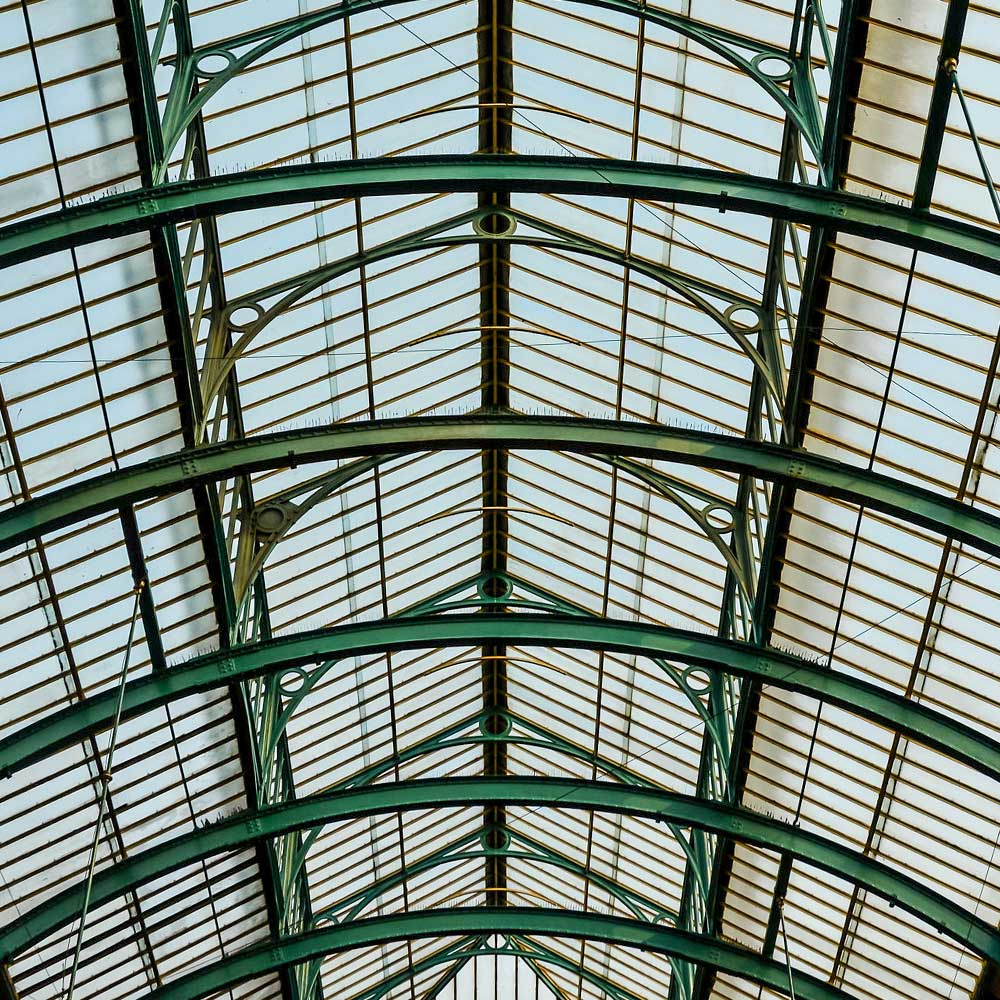 restored roof at covent garden market in a beautiful jade green colour
