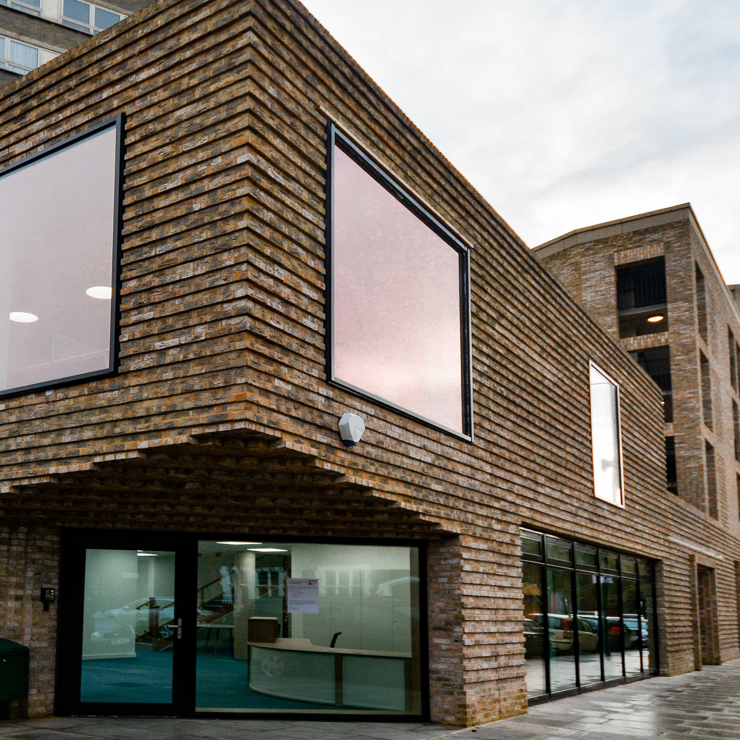 exterior-shot-of-silchester-hub-showing-the-brickwork-and-entrance rainy day