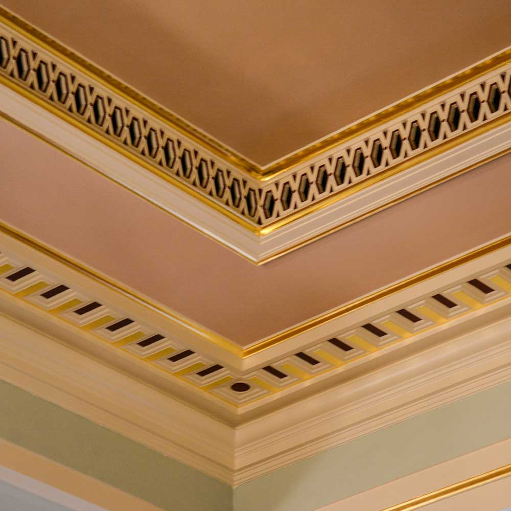 Interior roof of the worshipful company of painter strainers building restoration services including guilding, painting and decorating