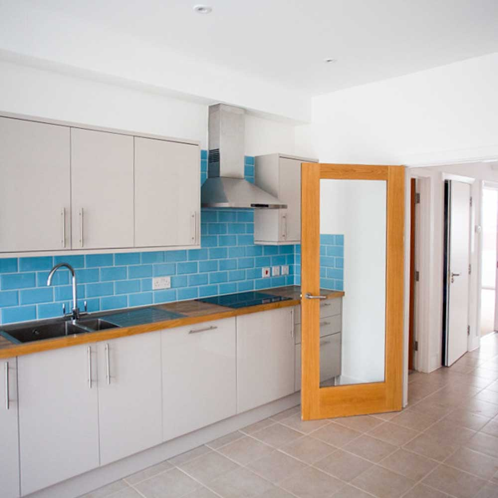 Large open kitchen with a glass door in a housing conversion