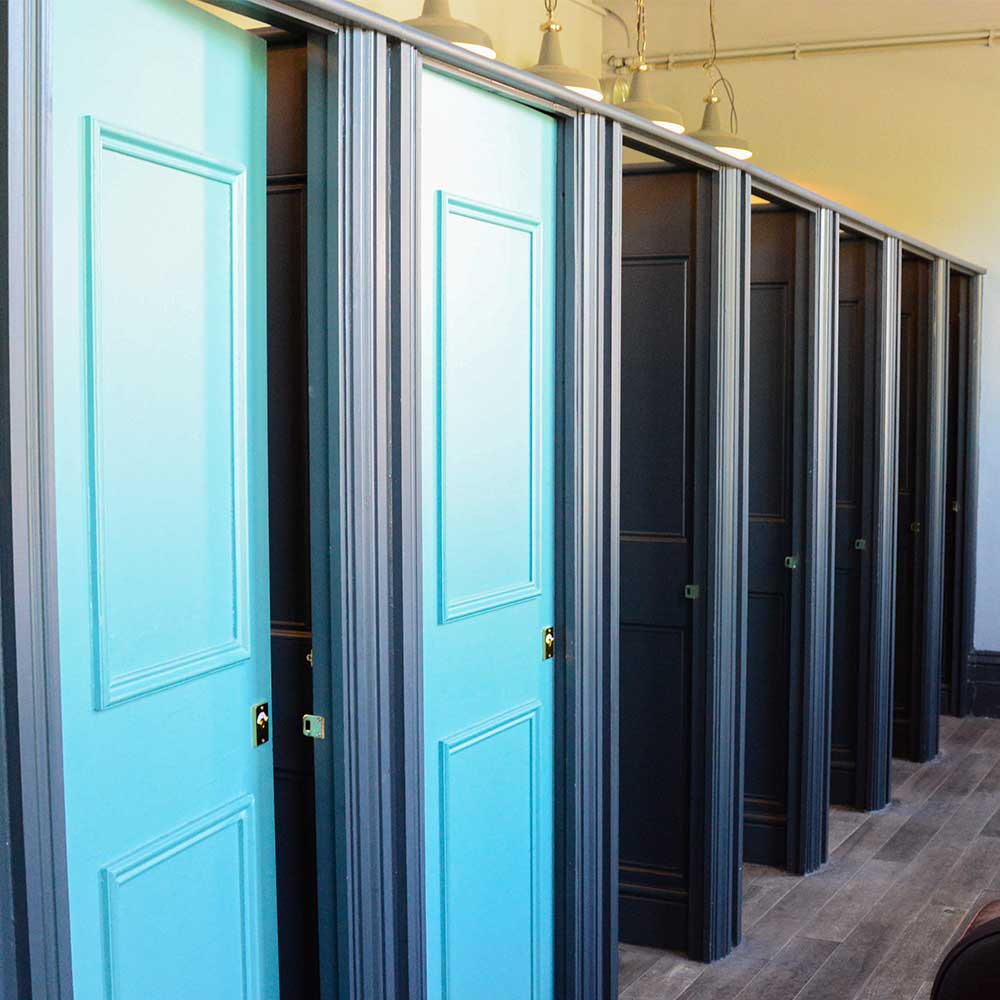 Bathroom stalls freshly painted