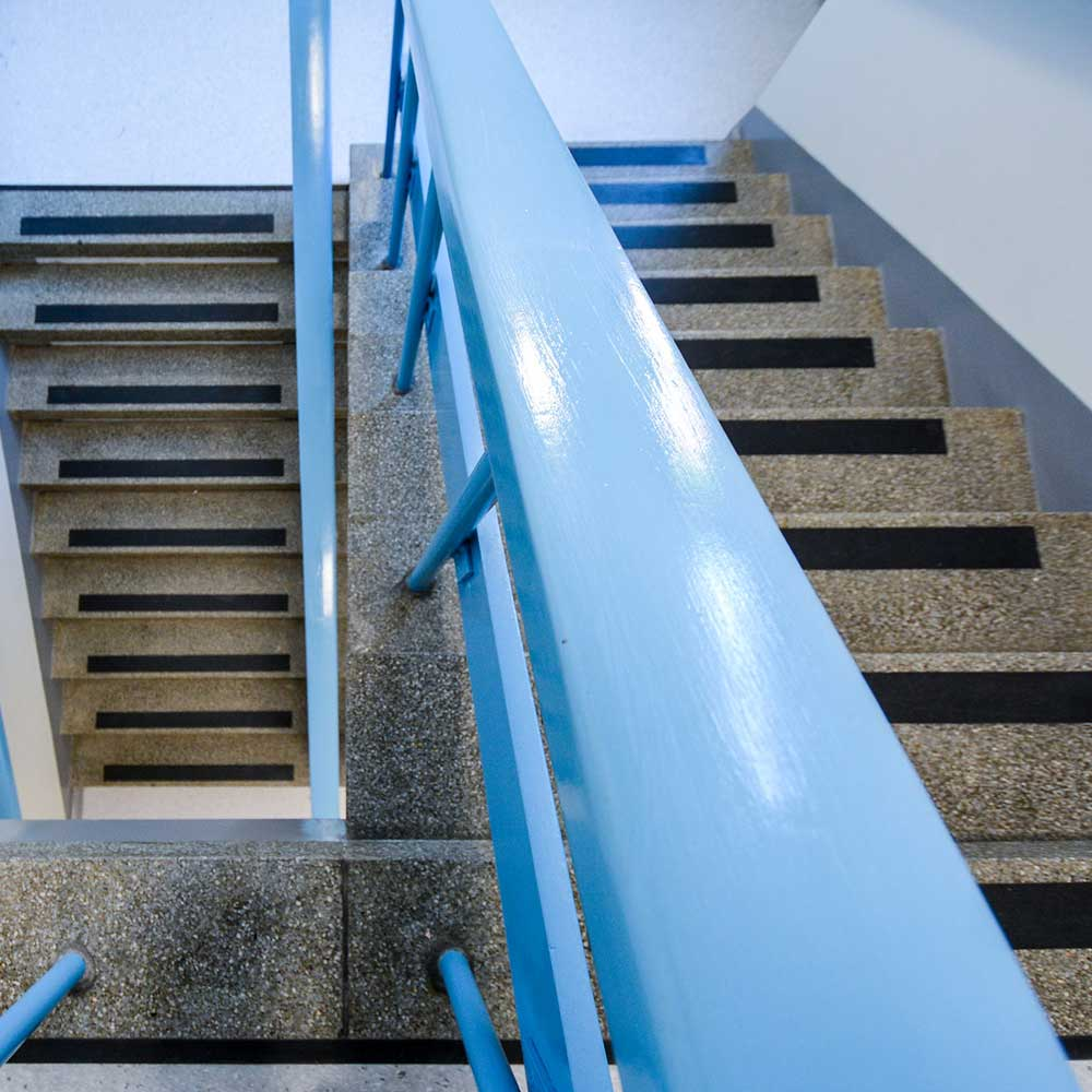 Bannister and staircase rail inside a police station