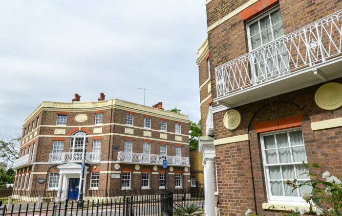 London street with two properties that have had cyclical decorations work completed by axis on behalf of L&Q