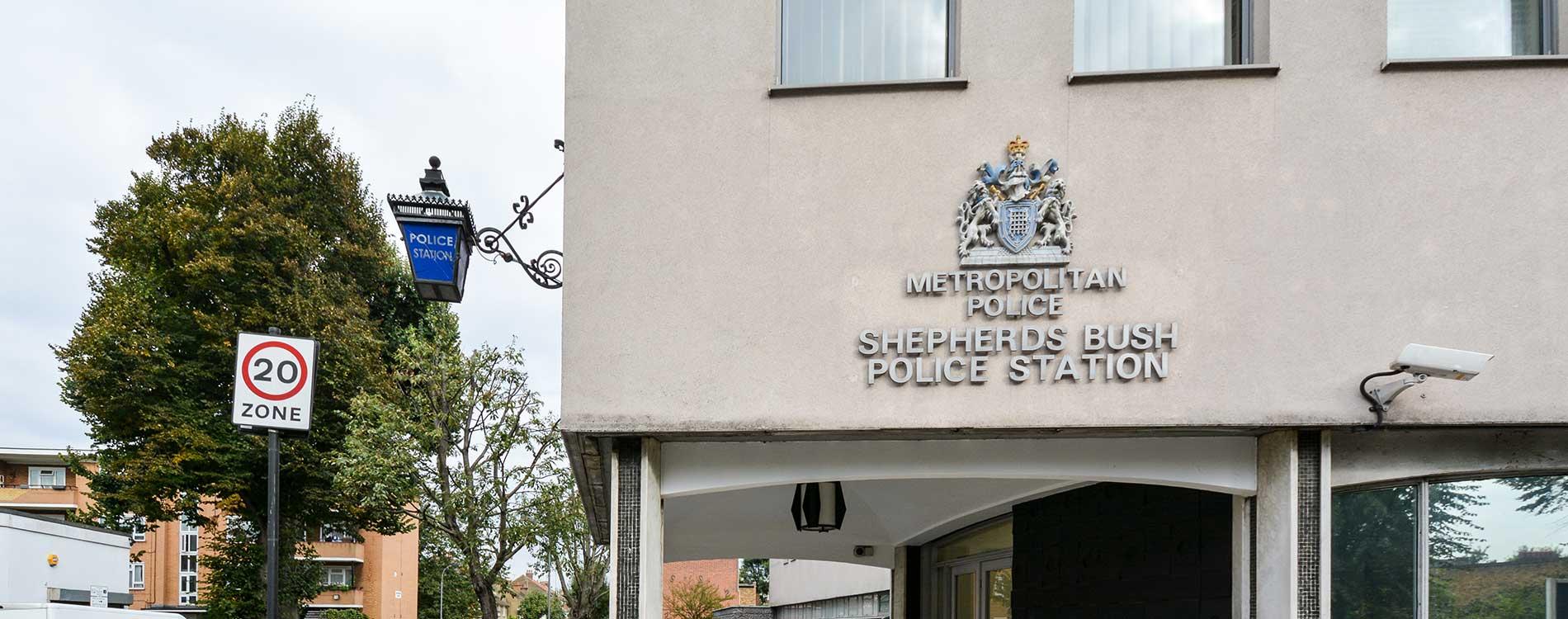 Shepherds bush police station signage