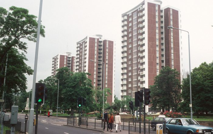 Three tower blocks in south London stand behind a busy road these blocks are set to have a fire safety upgrade carried out