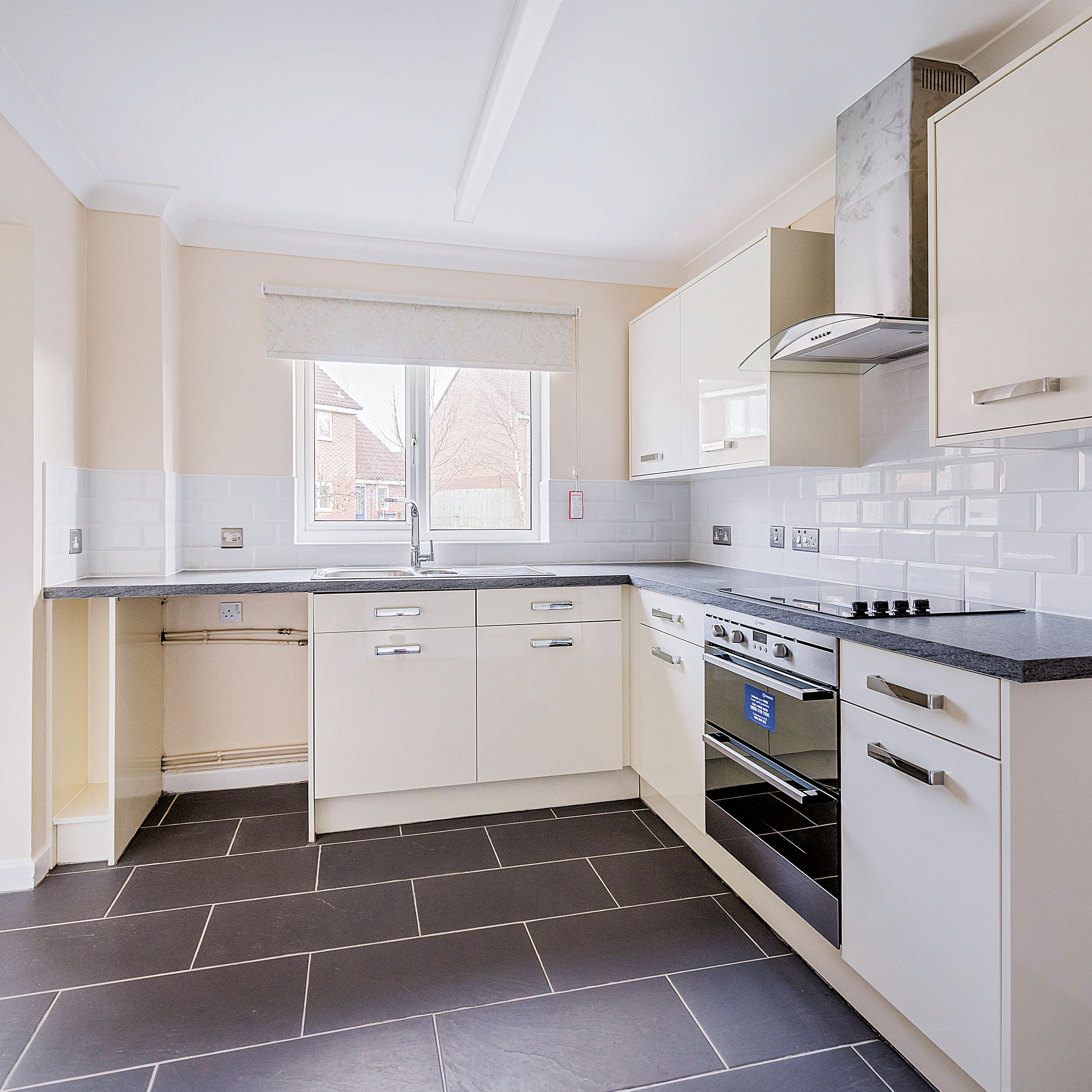 open and bright kitchen in a refurbishment project at MOD Cosford