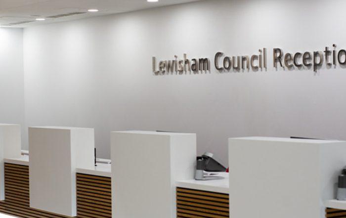 Desk area inside a London council building