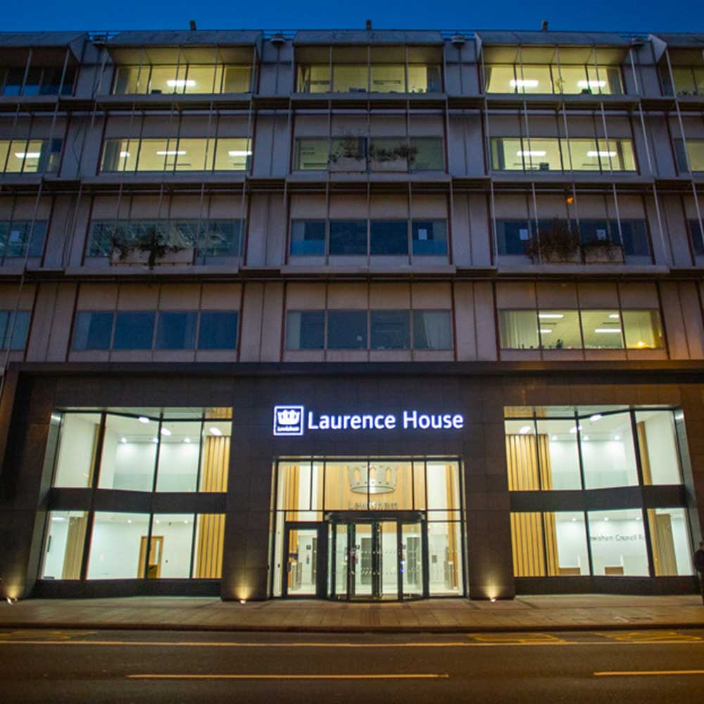 Laurence House council building at night after a refurbishment projects