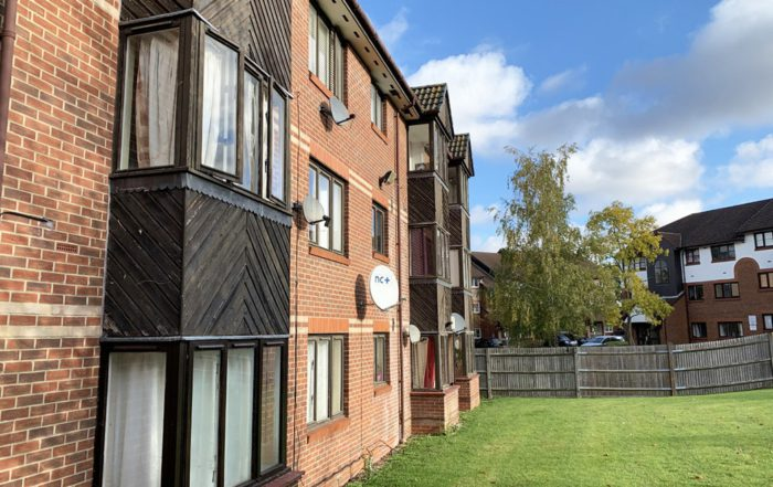 Exterior od a block of flats showing clean brickwork this is part of Axis MTVH contract