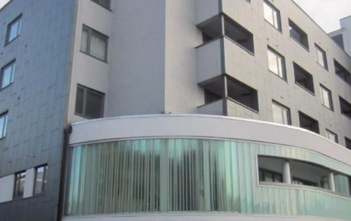Office building after undergone cladding removal works