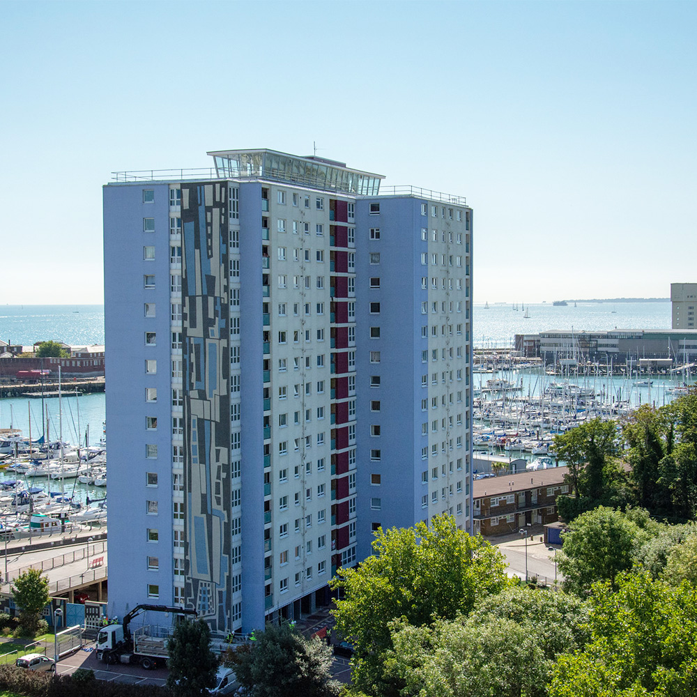 cladding replacement works taking place on a tower at Gosport