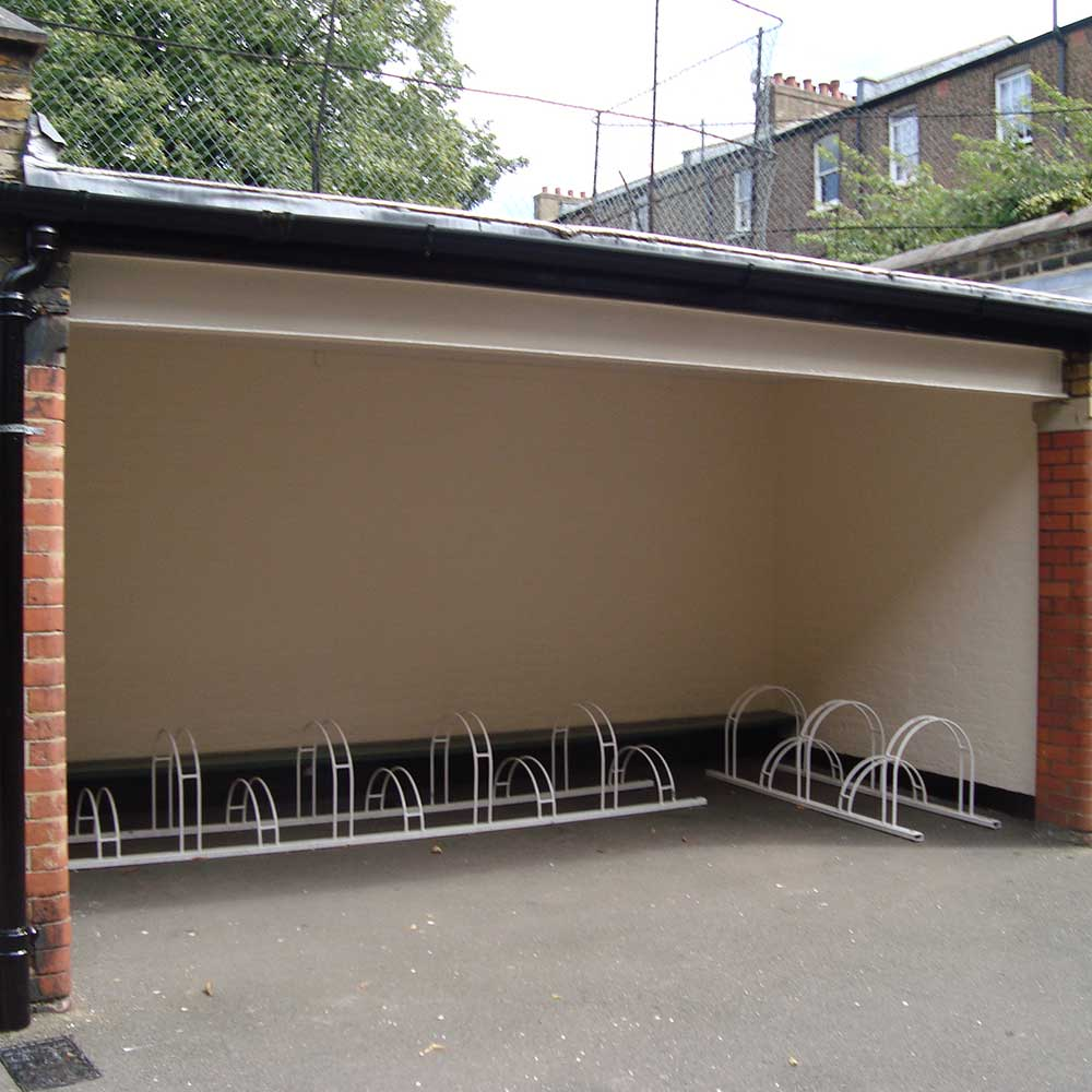 New installed bike sheds as part of a renovation project