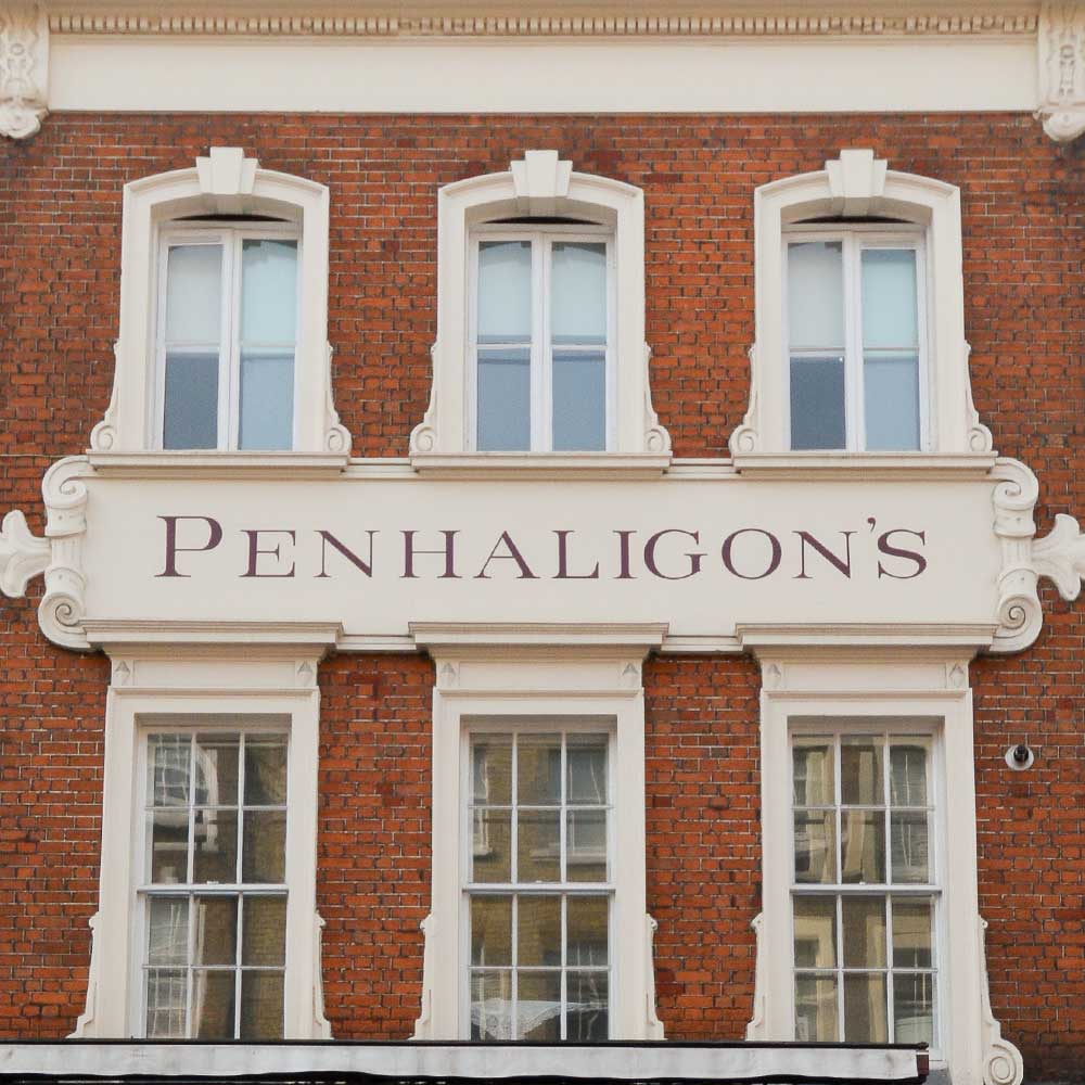 Penhaligons sign surrounded by repaired brickwork and windows