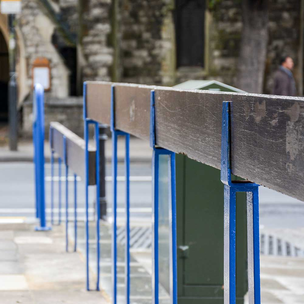 Fresh painted and decorated barriers outside a police station