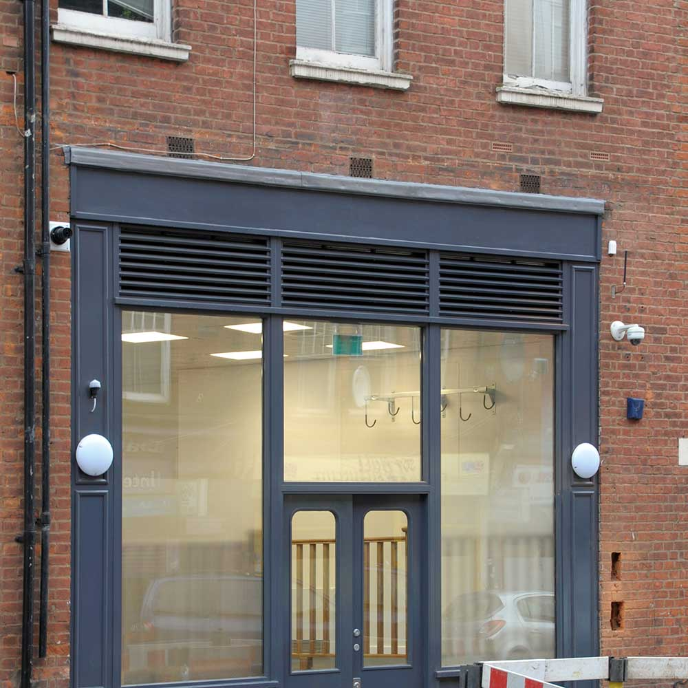 Entrance to a police station one of Axis projects