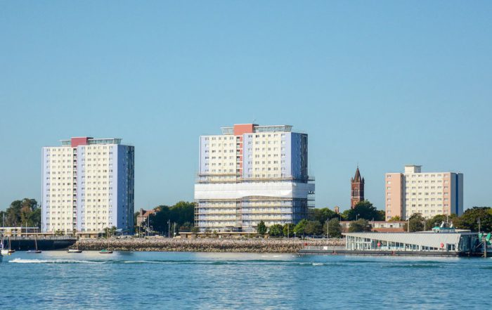 Gosport towers on the water front showing the cladding being replaced