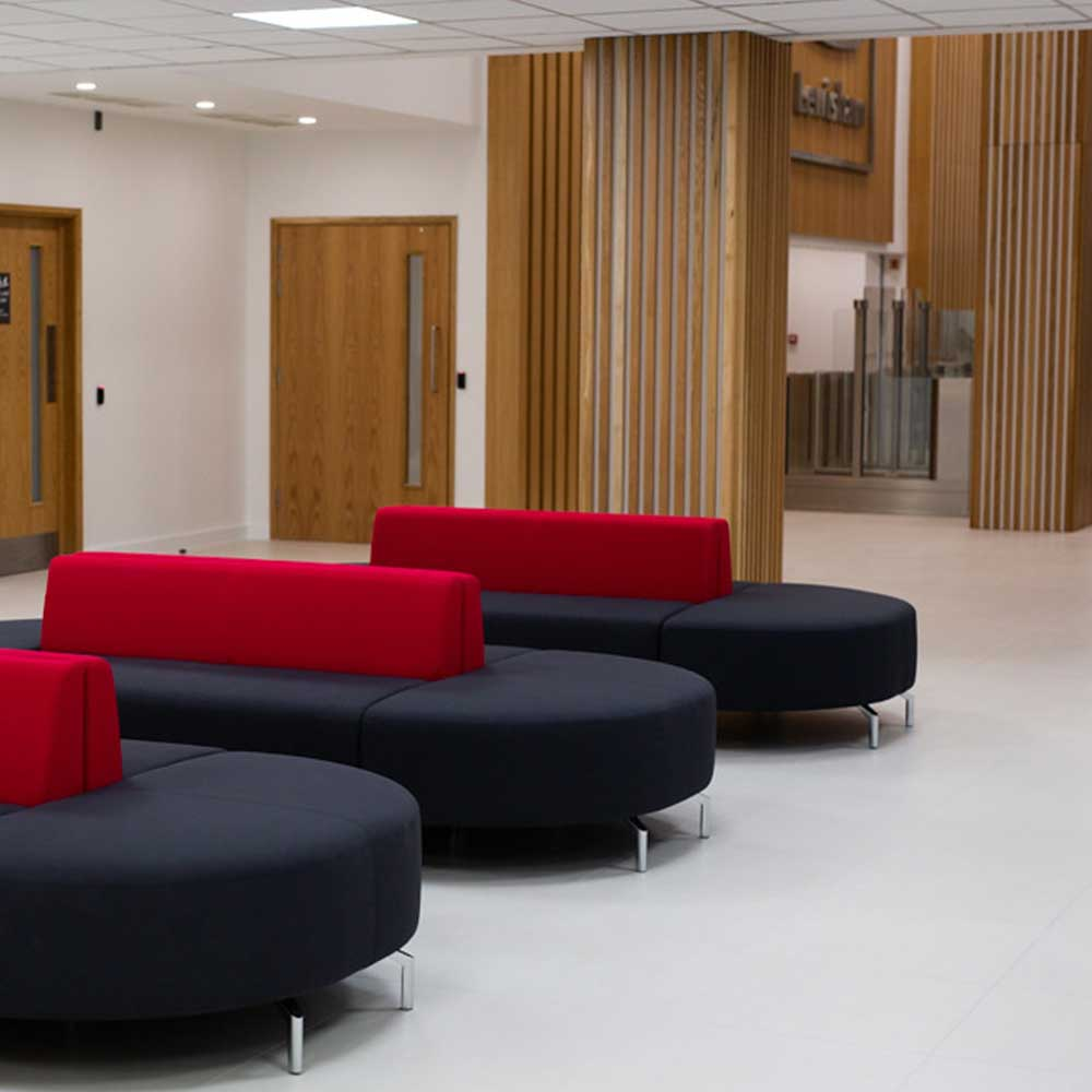 Office waiting area inside a council building