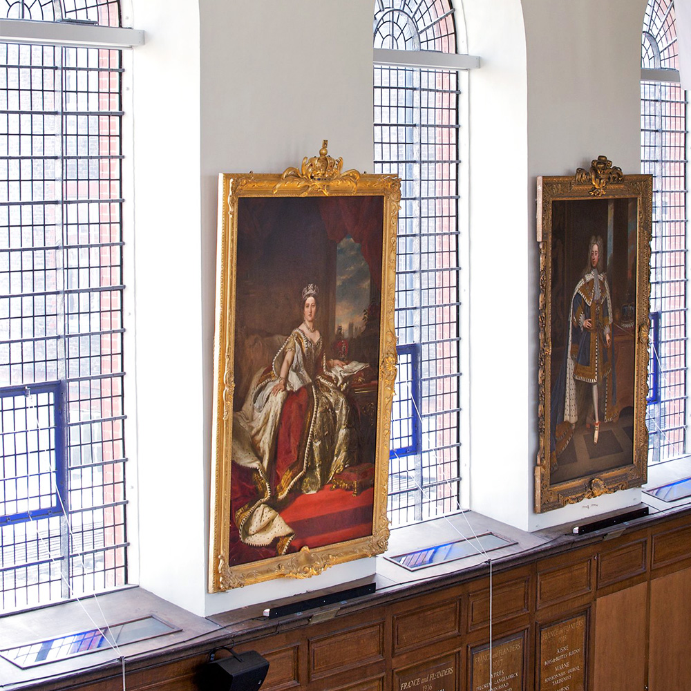Royal Chelsea grand hall paintings of the monarchy