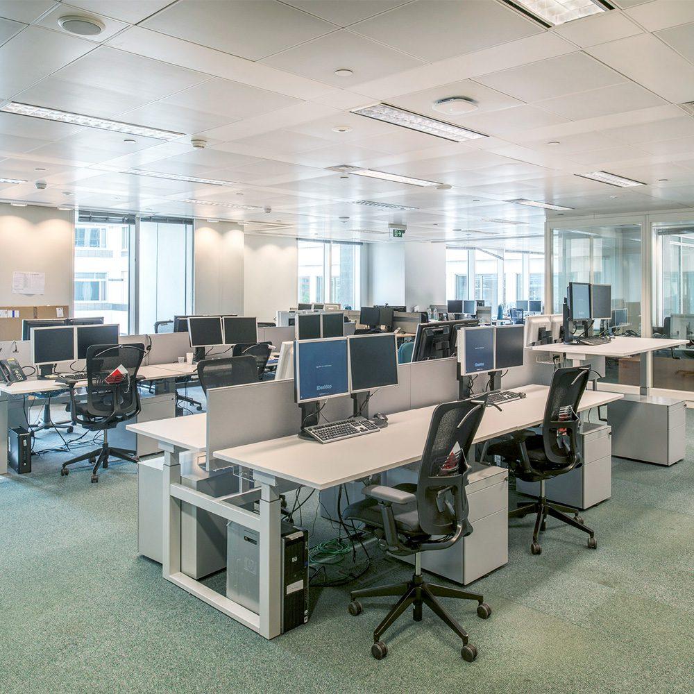 desks inside modern London office space