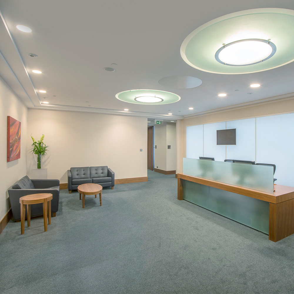 upgraded office reception area