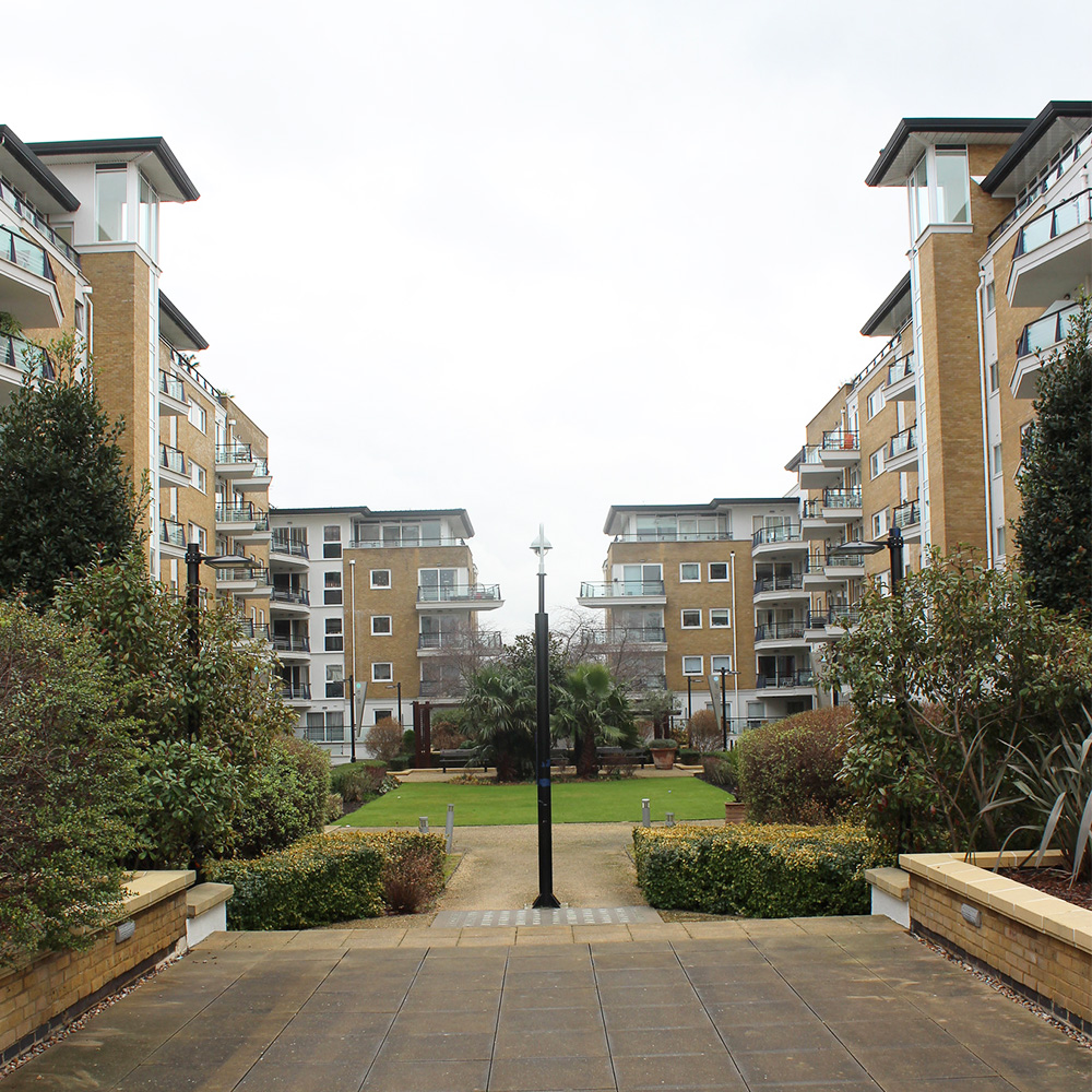 Riverside west private housing estate gardens