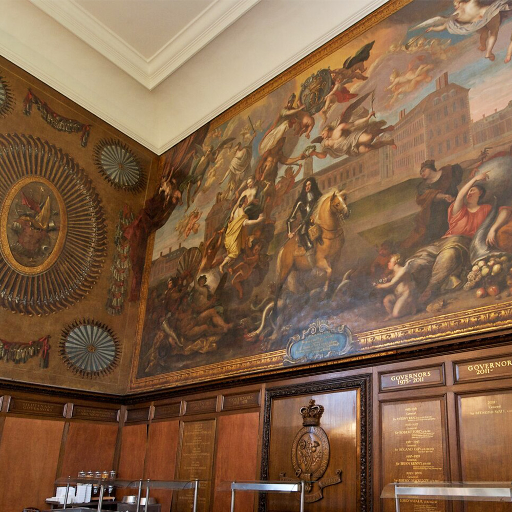Beautiful paintings and artwork across the walls inside the royal Chelsea hospital