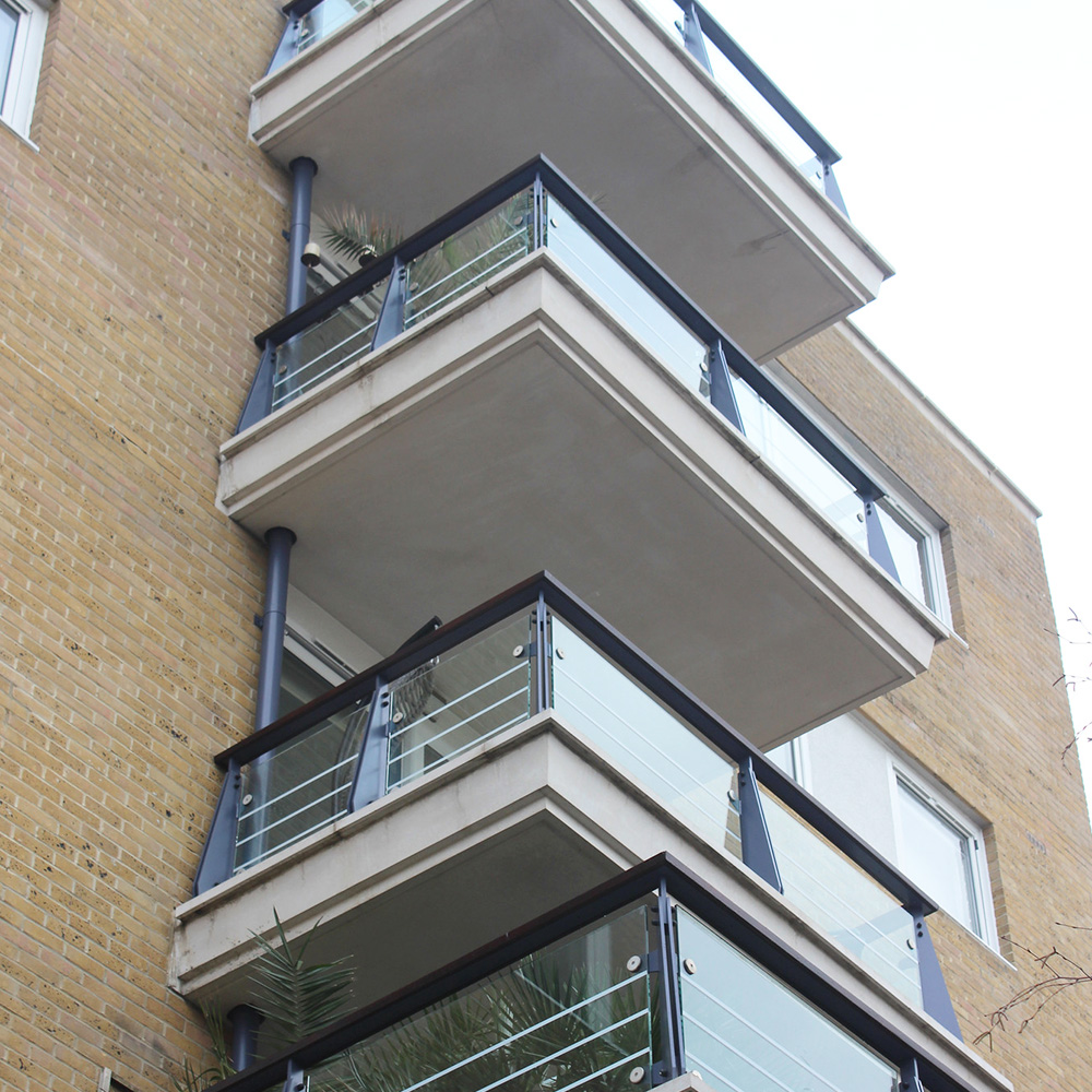 Riverside West painted and decorated balcony's and new glass installation