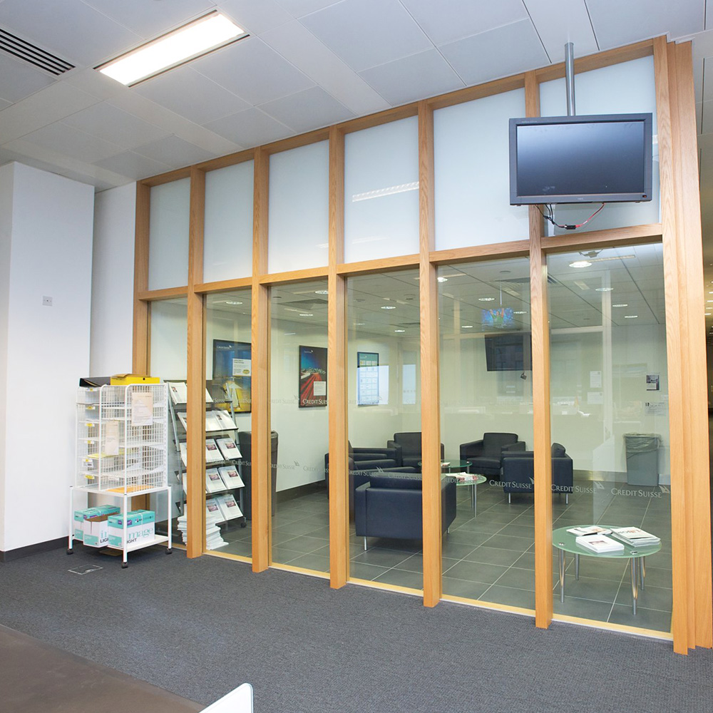 Glass wall separate's rooms inside an office