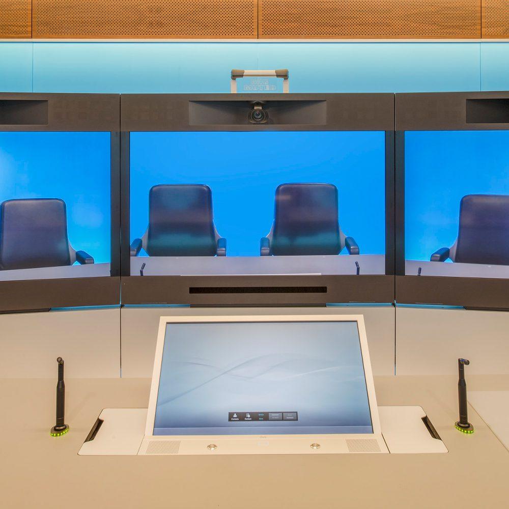 Virtual meeting space in modern office space