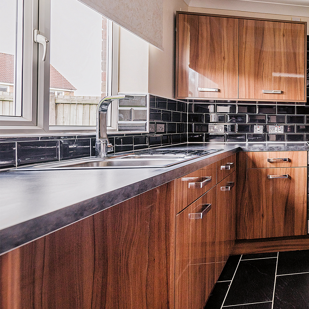 wood style kitchen after refurbishment project