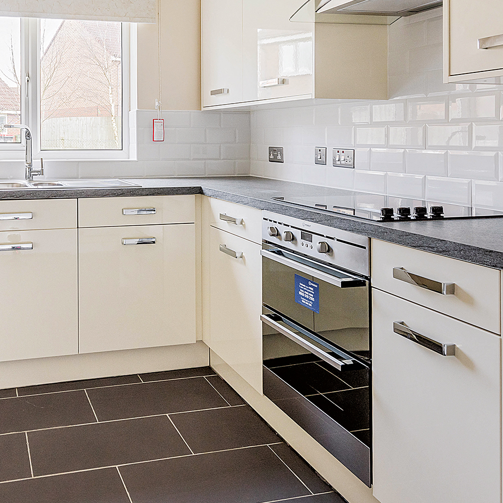 oven and hob in a refurbished kitchen space