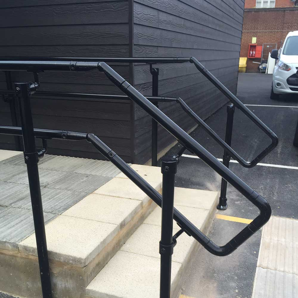 Fresh painted and decorated black metal barriers