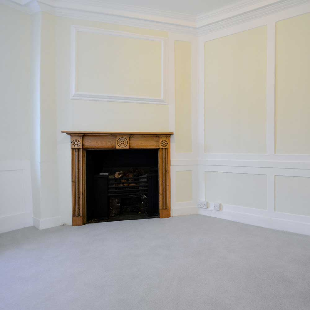 Large spacious room inside a void property after refurbishment