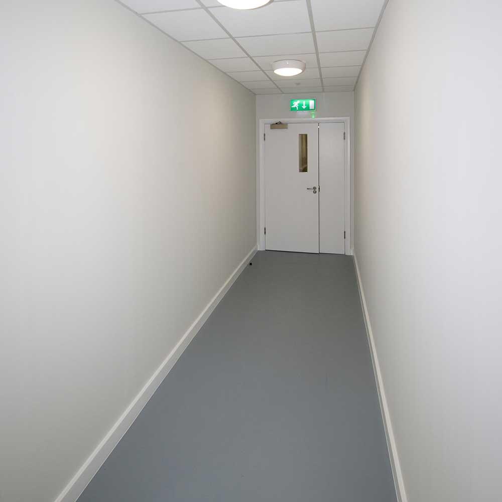 Gym hallway inside a MET police renovation project